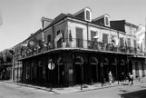 Corner building in the French Quarter in B&W