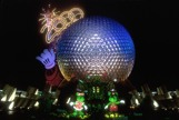 Epcot Ball with Y2K sign at the top