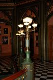 Light fixtures of lamp posts inside of historic capitol
