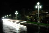 Historic Street lamps in Franklin, LA at night