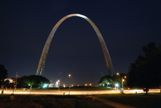 St Louis Arch with traffic lights streaking in front